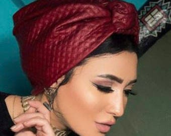 Artichoke design leather turban