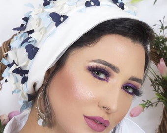 Floral tulle turban