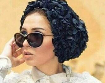 Floral turban occasion turban black turban elegant turban