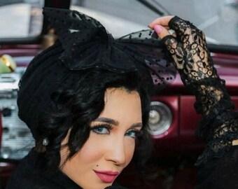 Dotted tulle women turban bridal turban