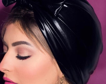 soft stretchy knotted bow faux leather soft Lycra turban