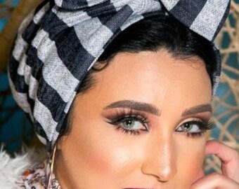 Soft wool stripped multiway women turban