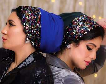 Drape Crepe Turban With Reversible Sequin Band Women Turban