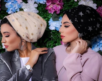 Sliver Stars embroidered Indian tulle turban