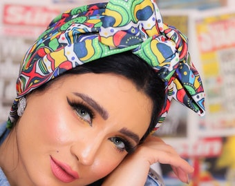 Knotted Bow Crepe Lycra Stretchy Colorful Women turban