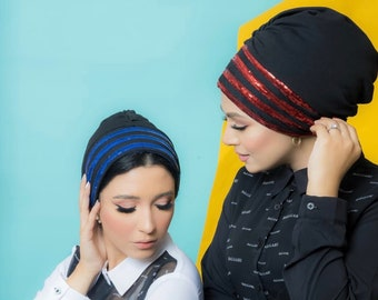 Drape crepe Turban with payette stripes women Turban head wrap Turban hijab chemo turban
