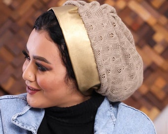 Turkish Wool Tricot Women Turban With Leather Band
