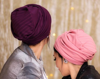 Two In One Striped Lycra Women Turban