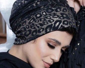 Jersey Lycra Leopard Women Turban Headband Women Turban Hat