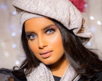 Soft Wool Women Beret with scarf