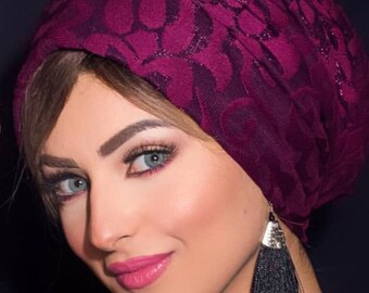 Embroidered lace women's turban