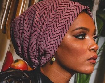 Zigzag Pattern Wool Lycra Two In One Design Women Turban