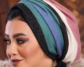 Multicolored soft tricot drape women turban headband