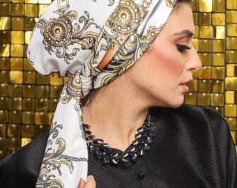 Multi-way Turkish Crepe White Golden Chains Pattern Women Turban Headband