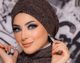 Knitted wool wrinkled design women turban headband chemohat winter hat