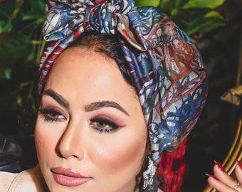 Hawaiian Colors Lycra Knotted Bow Women Turban Headband Chemohat All Seasons Turban