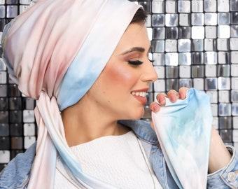 Multi-way Multicolored Turkish Crepe Women Turban Head Wrap
