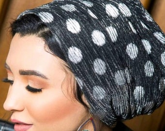 Dotted pleated turban chemo hat