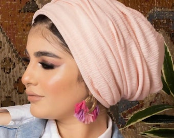 Two In One Drapes Design Lycra Women Turban Headband Turban Hijab Tichel