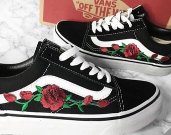 c0ec4f0c3548 Custom Rose Vans Old Skool Embroidery shoes customized sneakers