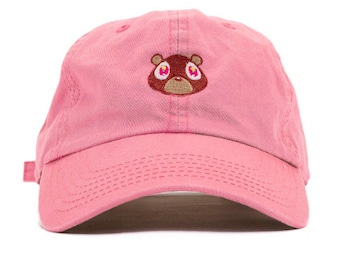 16faa0157787c Kanye West College Dropout Bear Dad Hat Embroidered Baseball Cap Graduation  Pink