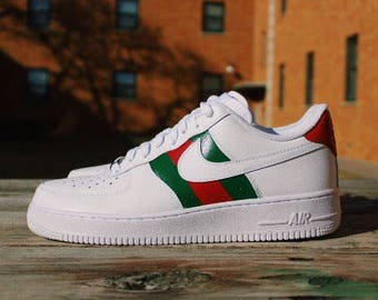 premium selection 1ed91 12ed5 Nike Air Force 1 Gucci Custom Design Hand,painted Gucci Red and Green  Stripes ...