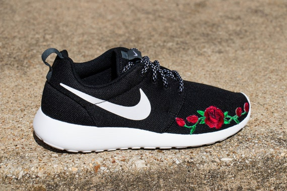 2a5c9fd56c72 Custom Nike Roshe Runner Rose Embroidery Patch Shoes Black