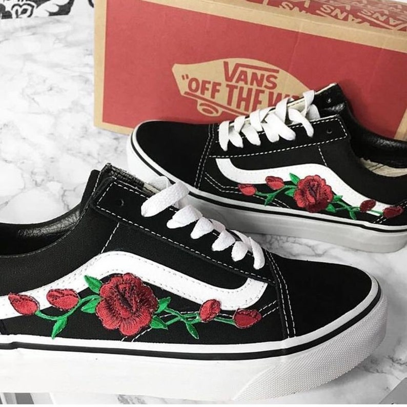 Custom Rose Vans Old Skool Embroidery shoes customized  3bc261355e