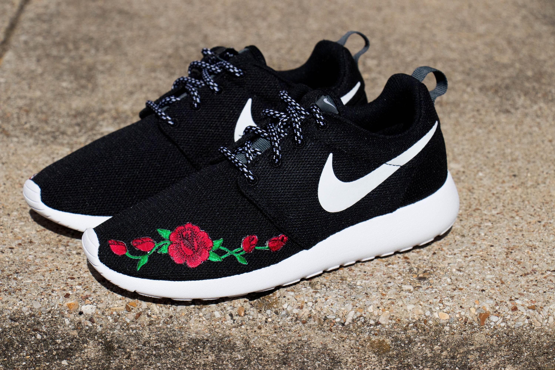 635c42ce6e3bd Custom Nike Roshe Runner Rose Embroidery Patch Shoes Black