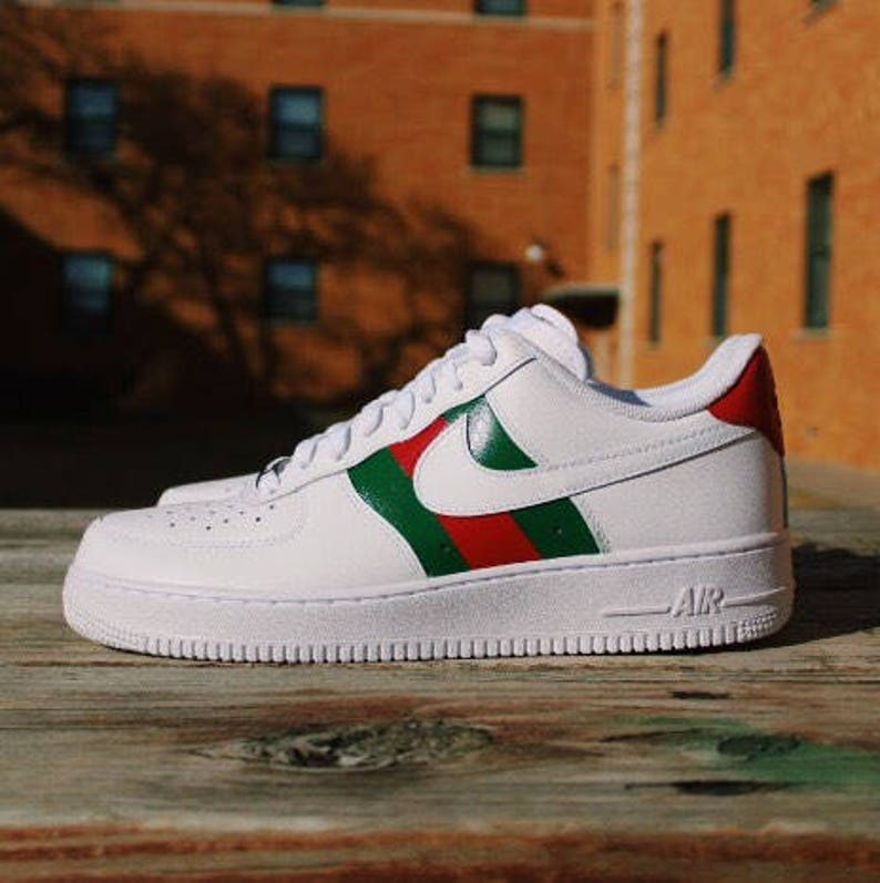 93c8193e904f Nike Air Force 1 Gucci Custom Design Hand-painted Gucci Red