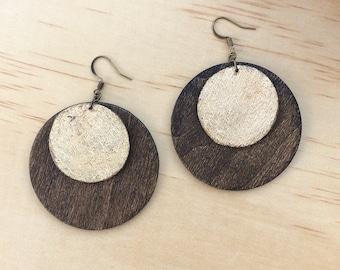 Random Circle Cluster Laser Cut Wood Earrings