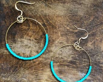 42f38e933 Turquoise Seed Beaded Hoop Earrings   Bohemian Earrings   Simple Light  Weight Festival Beaded Earring   Bridesmaid Earrings Gift for Her