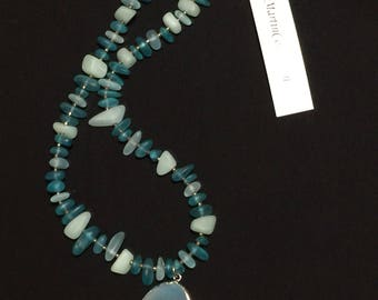 Lt. & dark turquoise Seaglass, beautiful Agate pendant necklace