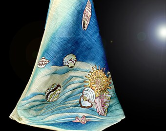 silk & linen hand-paitned scarf