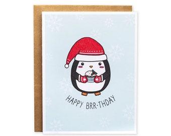 58e14fdeb5e7c Happy Brr-thday    punny birthday card - christmas card - festive birthday  card - punny greeting card - cute penguin card