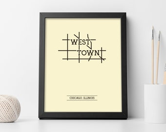 West Town Chicago Map.Old Town Chicago Neighborhood Map 8x10 Wall Art Print Etsy