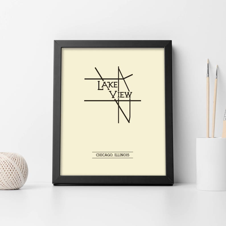 Lakeview Chicago Neighborhood Map 8x10 Wall Art Print Etsy