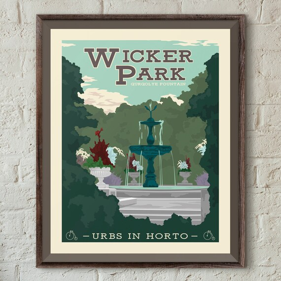 wicker park bucktown chicago neighborhood park 16x20 poster etsy