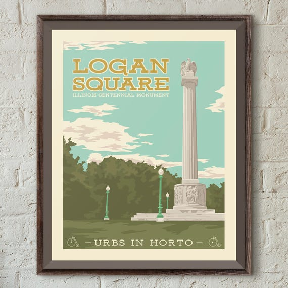 logan square chicago neighborhood park 16x20 poster wall art etsy