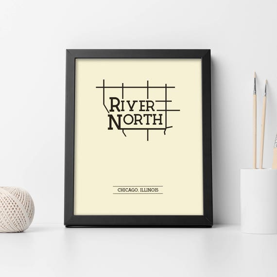 River North Chicago Neighborhood Map 8x10 Wall Art Print Etsy
