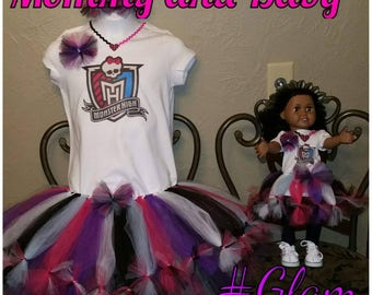 Petti tutu outfit and doll(mommy and me)