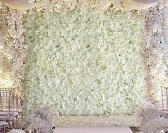 Fake flower wall etsy 8 foot wall ivory flower wall cream hydrangeas artificial floral panels wedding decorations fake greenery flower square white sale wholesale junglespirit Images