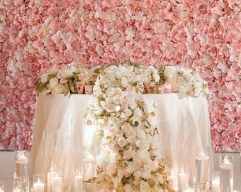 Fake flower wall etsy 4 blush ivory flower wall pink panels hydrangeas artificial flower wedding decorations fake flower greenery flower junglespirit Gallery