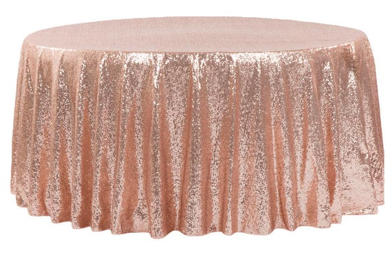 Sale 120 Blush Sequin Round Tablecloth Rose Gold Table Etsy