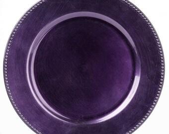 SALE 24 Purple Beaded Acrylic Charger Plates 13  Plum Dinner Servers Plate Chargers Plastic Dinnerware Wedding Bulk Wholesale Eggplant  sc 1 st  Etsy & Purple dinner plates | Etsy