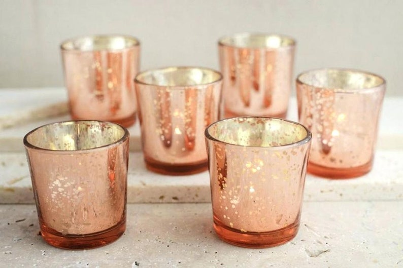 24 Rose Gold Blush Mercury Glass Speckled Votive Holders