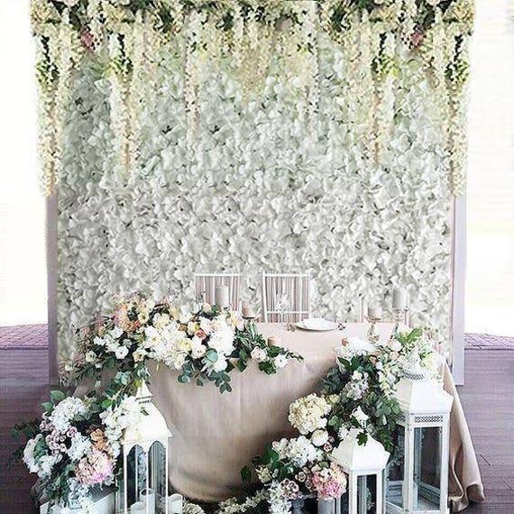 4 White Flower Wall Hydrangeas Artificial Flower Wall Panels Etsy