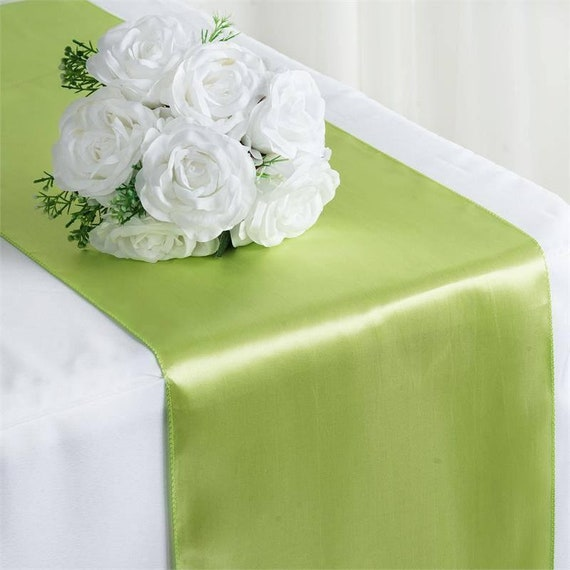 Sale Five Apple Green Satin Table Runners Wedding Table Etsy