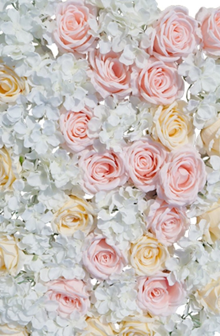 Blush Peach Ivory Flower Wall Pink Roses Hydrangeas Artificial Etsy