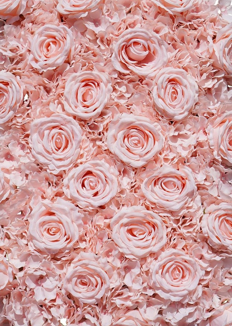 Sale Blush Flower Wall Pink Roses Hydrangeas Artificial Flower Etsy